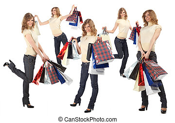 many happy blondes with paper bags full body, collage