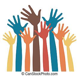 Many happy hands vector. - Many happy hands vector design.