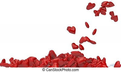 many heart fall on white background