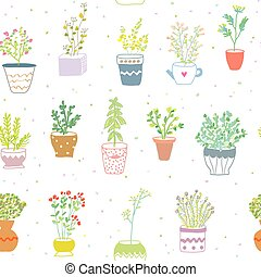 Many herbs kitchen seamless pattern - nice design