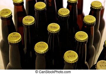 Many Homebrews in Amber Bottles