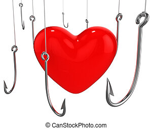 Many hooks trying to catch red heart isolated on white...