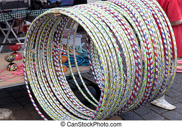 Many Hula Hoops in different colors