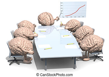 many human brains meeting around the table and follow their...