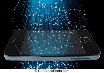 Many illuminated blue fiber optic light strands cascading...