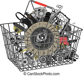 Many images of spare parts - Basket with many spare parts...