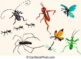 many insects hand painted on cream colored paper - training...