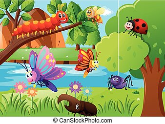 Many insects in the garden illustration