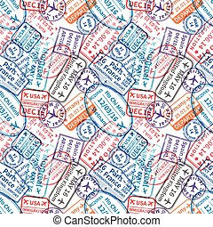 Many International travel visa rubber stamps imprints, seamless pattern