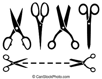 many isolated scissors set