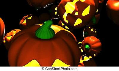 Jack O Lanterns - Many Jack O Lanterns on black background....
