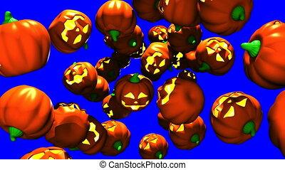 Jack O Lanterns on blue chroma key - Many Jack O Lanterns on...