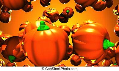 Jack O Lanterns on orange background - Many Jack O Lanterns...