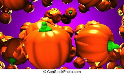 Jack O Lanterns on purple background - Many Jack O Lanterns...