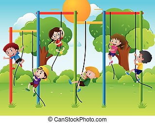 Many kids climbing up rope in the playground