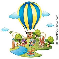 Many kids in amusement park