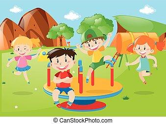 Many kids playing at playground