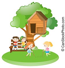 Many kids playing in garden