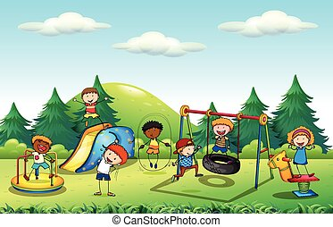 Many kids playing in the playground