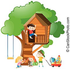 Many kids playing on the treehouse