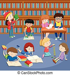 Many kids reading books in library