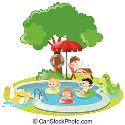 Many kids swimming in the pool