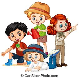 Many kids with happy face on isolated background