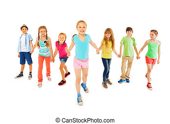 Many kids with happy little girl hold hands