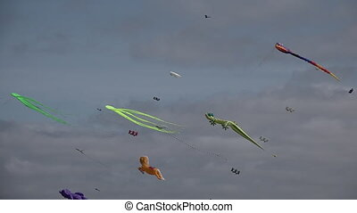 Many Kites fly in the air - Many olorful kites fly in the...