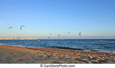 Many Kitesurfers in Spain