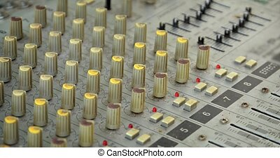 Many Knobs and Buttons on an Old Fashioned Audio Mixer - ...
