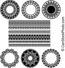 Many Lace Border Ornaments. Black And White Vector...