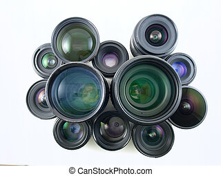 Many lenses for many cameras, collected over the years.