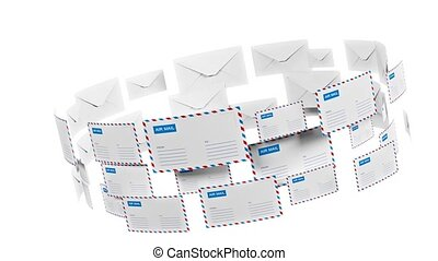 Many letters fly in a circle. Internet mail. Correspondence...
