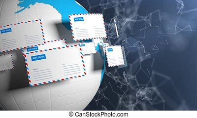 Many letters fly in a circle. Internet mail. Delivery of...