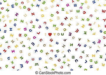 Many letters of various colors