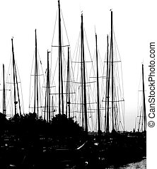many mainmasts of the boats with black and white effect