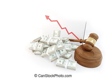 many Money for auction with business chart