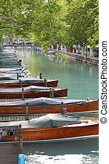 boats in the navigable canal in Annecy City France