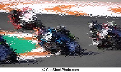 Many motorbikes competing in a racing circuit and slow-mo -...