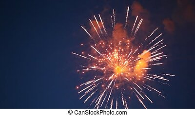 Many multi-coloured flashes of firework in evening sky