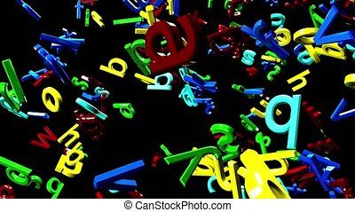 Many multicolored letters falling falling out on a black ...