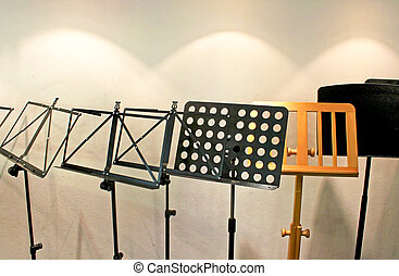 Many music stand in the room