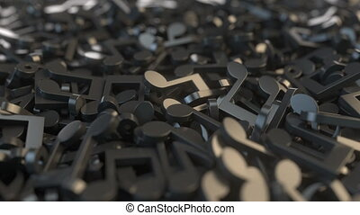 Many musical notes, 3D animation - Musical notes, conceptual...