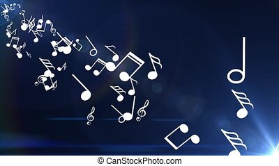 Many musical notes are flown from the side. Blue background