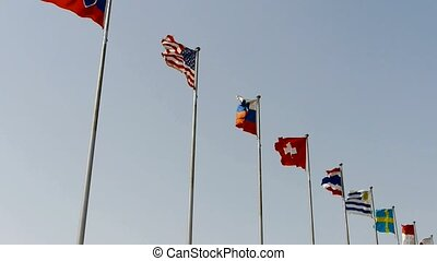 Many national flags fluttering