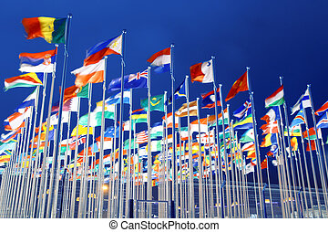national flags - many national flags with night sky