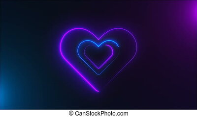 Many neon heart shapes in space, abstract computer generated...