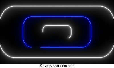 Many neon rounded rectangles in black space, abstract...