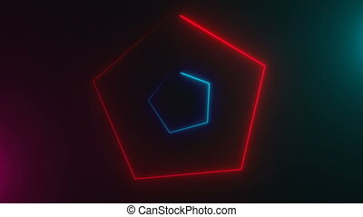 Many neon triangles in space, abstract computer generated...